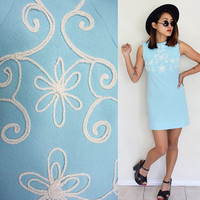 Vintage 60's mod embroidered Susan Petites baby powder blue pastel sleeveless mini dress