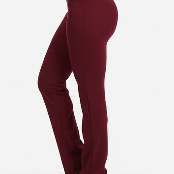 STRETCHY SOLID HIGH WAIST STRAIGHT DRESS PANTS (BURGUNDY)