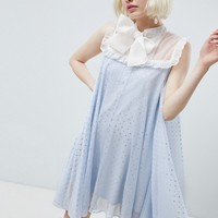 Sister Jane smock dress with pussybow in sparkle fabric at asos.com