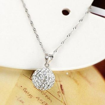 Fashion New Classical Women Chain Crystal Rhinestone silver plated Necklace Ball Pendant