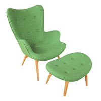 Grant Featherston Style Mid-century Modern Contour Lounge Chair and Ottoman Green