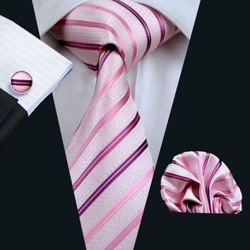 2016 Hot Wedding Tie Hanky Cufflinks Set Lvorie Pink Pattern Handmade Silk Ties for Mens Business Party Necktie LS-228