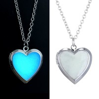 ON SALE - Beaming Heart Glow in The Dark Locket Necklace