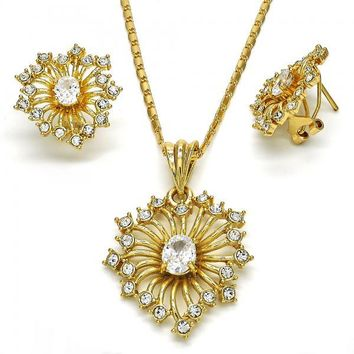 Gold Layered Necklace and Earring, with Crystal and Cubic Zirconia, Golden Tone