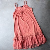 whimsical fairytale lace dress slip - burnt orange