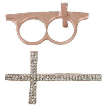 2 Pieces of Rose Goldtone Iced Out Cross Double Finger Ring