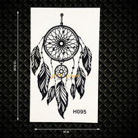 Black Flash Fake Tattoo Dream Catcher Waterproof Henna Temporary Tattoo Sticker GH095 Dreamcatcher Mehndi Tattoo Sticker Women