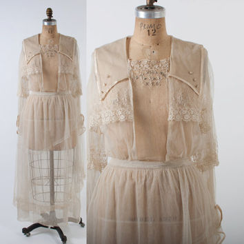 1910s LACE Tea DRESS / Cream Net & Crochet Edwardian Wedding GOWN M