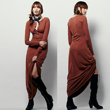 Coffee Long Sleeve Maxi Dress