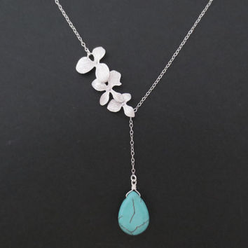 Triple orchid turquoise drop necklace, modern flower necklace, bridal, wedding jewelry, bridesmaids gift, lariat necklace, gift for mom