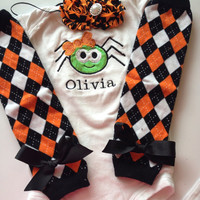 Baby Girl Halloween Outfit- Personalized baby girl Halloween outfit - Baby halloween costume - Halloween leg warmers - halloween headband