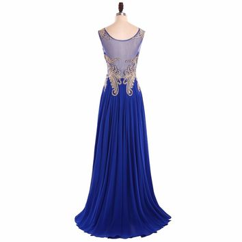 Women Royal Blue Long Evening Dresses Appliques A-Line Bride Sheer Back Evening Gowns