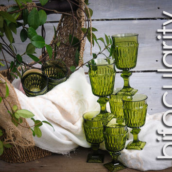 8 Indiana Glass Mount Vernon Green Juice Goblets