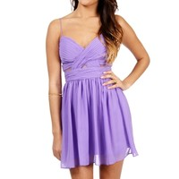 Elly-Short Lillac Mesh Prom Dress
