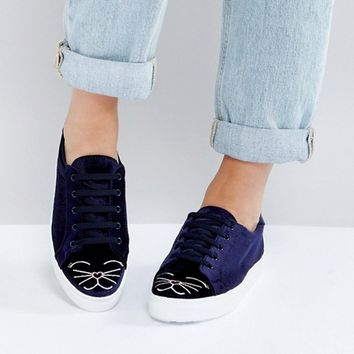 ASOS DIMPLES Kitty Lace Up Trainers at asos.com