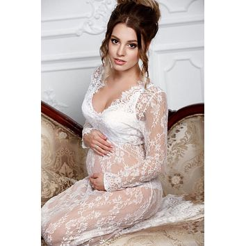 Long Sleeve Lace Maternity Dress Photo Shoot Prop (Multiple Colors Available) - CCO03 CLOSEOUT