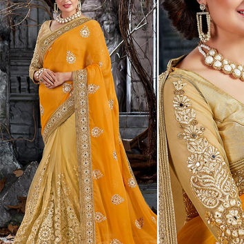 Attractive Looking Crepe Silk Yellow Ethnic Saree Womens