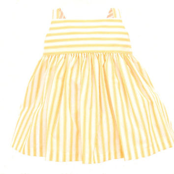 Citrus and White Baby Dress - 0- 6 Month Outfit Girl - Baby Summer Dress - Creamsicle Stripe - 3 Month Dress - READY TO SHIP
