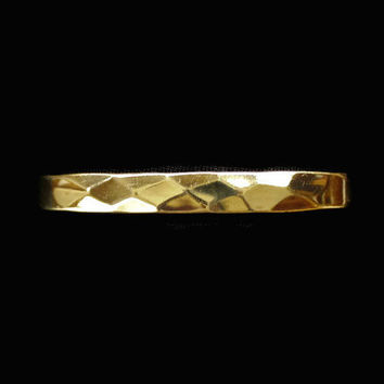 Solid Brass Cuff Bracelet With Diamond Pattern