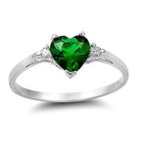 Sterling Silver Green Emerald Heart cut Kids and Ladies Ring size 3-12