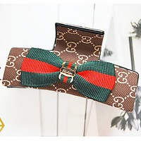 GUCCI classic red and green striped temperament bow hair clip hairpin hair accessories
