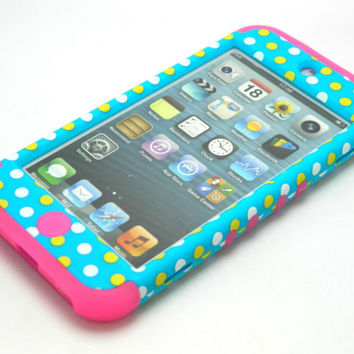 For iPod Touch 5 5th Gen Rocker Hybrid Pink Skin+Polka Dots Blue Hard Cover Case