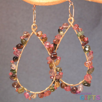 "Smooth round tourmaline wrapped around long hammered drops, 2-1/2"" Earring Gold Or Silver"