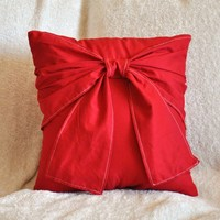 Red Decorative Pillow Big Bow Pillow 14x14 Choose Your by bedbuggs