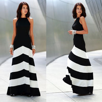 Stripes Mosaic Shaped Sexy Backless Prom Dress One Piece Dress [4918038212]