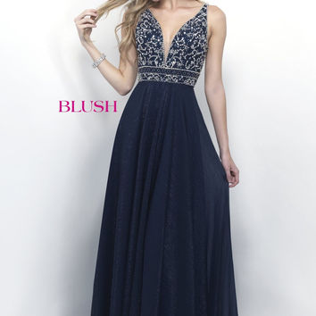 Sparkling A Line Gown: Blush 11257