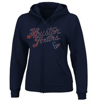 Houston Texans Women's Football Classic Full Zip Hoodie - Navy Blue