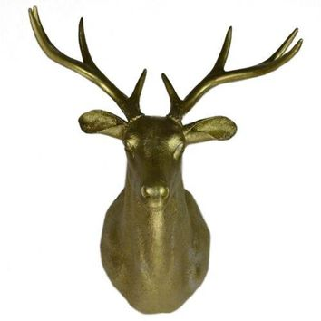 Large Size Plastic Deer Head Wall Hanging Decoration golden