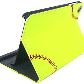 Softball iPad Mini Cover Case -genuine softball leather with real red stitching