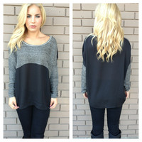 Grey Knit Sherie Sweater Top