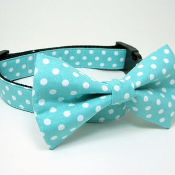 Dog Collar with bow tie set-Turquoise Blue Polka dot (Mini,X-Small,Small,Medium ,Large or X-Large Size)- Adjustable