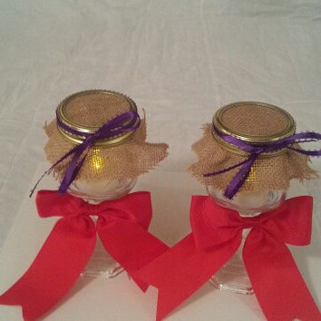 Burlap red and purple wedding candle jar / center piece set. Any color to match your wedding