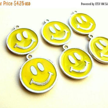 Christmas Sale Enameled Emoji Charms - Smiley Face Charms - Emoji Charm Lot - Jewelry Supplies - 20mm