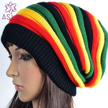Elegant Fashion Bob Marley Jamaican reggae cap Multi-colour Striped Rasta Hat Slouchy Baggie Beanie Skullies Gorro rasta Women