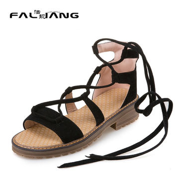 Big Size 11 12 Casual ankle lace fashion sandals and fresh style    women's sandals women's shoes woman for women platform shoes