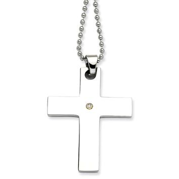 Diamond Latin Cross Pendant Necklace in Stainless Steel - Lobster Claw Bead