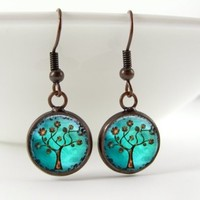Copper Tree Dome Pendant Dangle Earrings - Copper Tree Art! - Ships 3/21