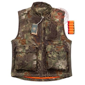 Men's Outdoor Multi Pockets Airsoftsports Tactical Vest Hunting Photography Python Camouflage Vest Kryptek Double Sides Wearable
