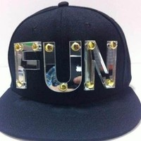 FUN Plate Sign Black Adjustable Hat Cap Snapback - USA Seller