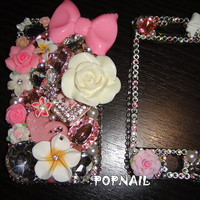Bling  flower  iPhone 4S iphone 5 made with Swarovski Diamond Crystal
