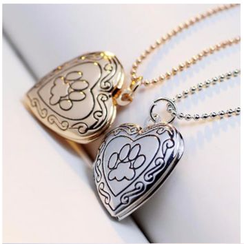Dog Paw Print Photo Heart Locket Necklace