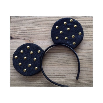 Black Lace Studded Mouse Ears