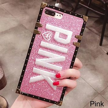 Victoria's Secret Tide brand love dog embroidery glitter iPhone6s women's protective cover pink