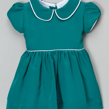 Emerald Green Peter Pan Collar Dress - Infant, Toddler & Girls