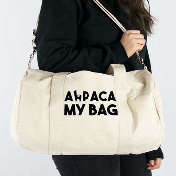 Alpaca My Bag Canvas Duffle Bag