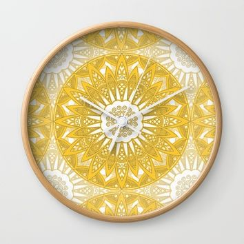 Orange Mandala Wall Clock by Stefanie Juliette